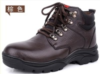 2013 Winter cotton-padded shoes male high casual genuine leather snow boots men outdoor hiking flat shoes