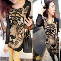 spring autumn winter nightclub style Womens tops tiger head long bottoming shirt sexy dress new 2014 long sleeve