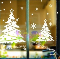 Christmas New Year snowflake Christmas tree wall stickers shop window stickers decorative glass door sticker decorations props