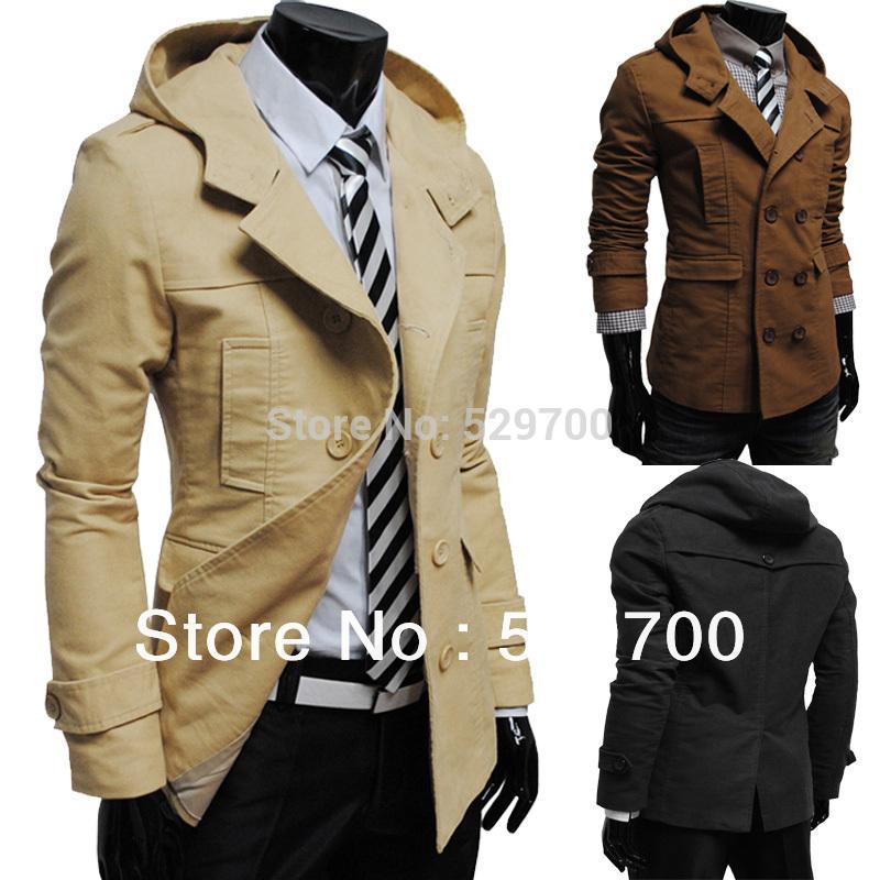 Free shipping Men Coats Jackets Fashion double-breasted hooded Men's Casual Luxury Jackets(China (Mainland))
