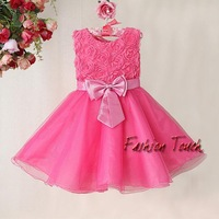 Newest Christmas Girl Party Dress Hot Pink Rose Flower Fashion Kid Dresses With Bow Children 2014 New Year Hot Sale Ready Stock