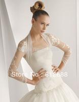 2014 New Arrival Organza with Lace Appliques Shawl Bolero Jacket Long Sleeve Wedding Accessories Wedding Lace Shrug