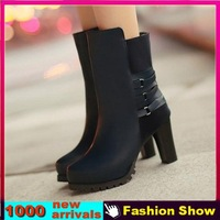 Big Size 34-43 Fashion Gladiator Thick High Heel Shoes 2013 Brand Half Knee Boots Spring and Autumn Martin Boots for Women XB733