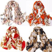 Fashion Retro Carriage Chain Scarf Chiffon Shawl Women Long Soft Wraps Scarves