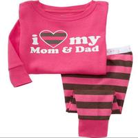 Free shipping baby boy pyjamas,baby girl wear,kids clothing set,Baby stripe pants Sleepwear Pajama Set Size 2T-7T,for new year