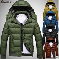 Free shipping 2013 winter new fashion detachable cap cotton padded coats men's warm down plus size M-4XL 5 colors