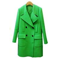 New 2013 winter coat women long-sleeve woolen outerwear fashion medium-long plus size solid color green woolen coats warm
