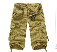 2014 military uniform men shorts casual Multi-pocket cargo shorts for men light
