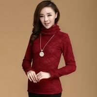2013 Autumn Ladies Lace Blouse Plus Velvet Thick Basic Shirt Turtleneck Long-Sleeve Lace Basic Tops Female Formal Outerwear