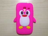 cute cartoon Penguin soft silicone drop resistant  skin case for sansung i8160 ,free shipping
