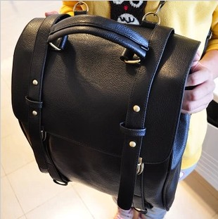 Preppy style bag vintage lovers double leather buckle on patent leather PU school bag backpack women's handbag big bag(China (Mainland))