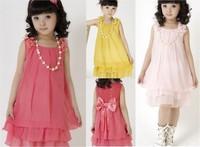 2013 NewBrand New Summer Girls Clothing Children Dress Bowknot Girls Gift Age 3 10Free Shipping