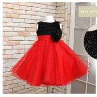 Wholesale 2013 Latest Design Girls Party Dress Summer Spot With Bow Dress Flower TuTu Layered Splice Dresses