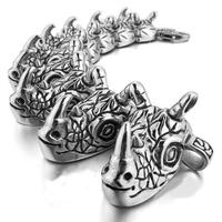 Fashion Punk Heavy Stainless Steel Bangle Bracelet Chain Men Biker Silver Rhino,High Quality Casting Bangle