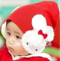 Children's hat baby rabbit baby hat double rabbit ear muff hat