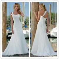 2015 New Free Shipping Chiffon Hand Made Flower White / Ivory Beach Wedding Dresses # 1134