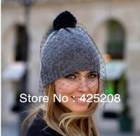 European and American fashion brand retro net yarn wool warm knitting wool hat