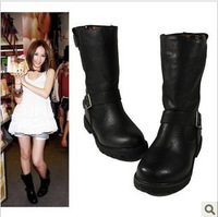 Winter female motorcycle flat cowhide  leather-PU martin  riding  punk platform  autumn boots