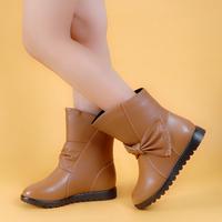 Ботинки для девочек Середина икры Без шнурков Круглая форма Стразы