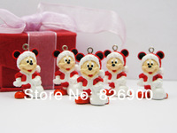 10 pieces Red Mickey Mouse Santa Pendant Charm Figurine DIY Accessories AMK949 Wholesale