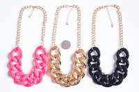 Fashion  neon color chuny chain short design necklace