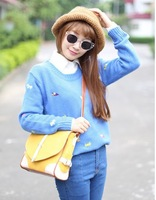 2013 autumn & winter new women's solid color o-neck pullover sweater