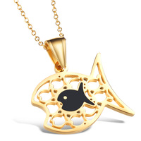 OPK JEWELRY Fashion 18K gold cute fish pendent necklace with free gold chain hot selling, 849