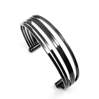 2014 New Year Black Plated 316L Stainless Steel Multi Assembly Pattern Cuff Bangle Bracelet