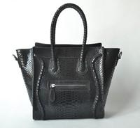 [Best discount!!]Paris fashion snakeskin surface ladies handbag women medium design genuine leather brand bag