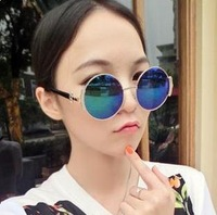 2013 fashion exquisite vintage royal nobility circular frame sunglasses reflective color film sunglasses