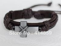 186 Brown cross leather bracelet Men bracelet Leather jewelry bracelet Holy Christian Religious gifts bracelet