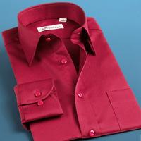Deep sea married shirt male long-sleeve Wine groom red mercerized cotton shirt men's clothing ceremonized