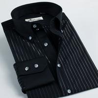 Deep sea shirt male black long-sleeve silverstrand stripe slim 100% cotton easy care men's clothing