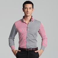 Deep sea deepocean fashion shirt male black red stripe long-sleeve 100% men's the trend of cotton clothing