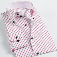 Shirt shirt male long-sleeve shirt deepocean buckle deep sea red stripe