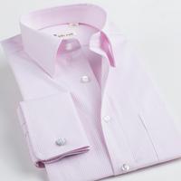 Deep sea deepocean french cufflinks shirt male long-sleeve pink easy care men's clothing