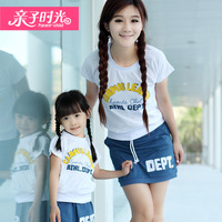 2013 family fashion clothes for mother and daughter T-shirt short-sleeve skirt sports casual two-color