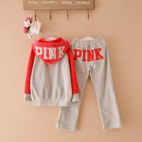 Fashion autumn family 2013 clothes for mother and daughter clothes for mother and son child autumn pink velvet sports set plus
