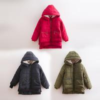 Children's clothing male female child winter child thickening plus velvet with a hood medium-long baby wadded jacket child