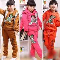 2013 winter clothing new arrival female child set vest sweatshirt trousers thickening three piece set 40062