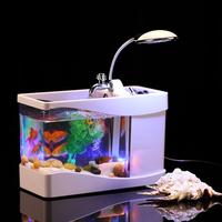 Mini USB Fish Tank Aquarium with Calendar and Pen Holder Black Silver
