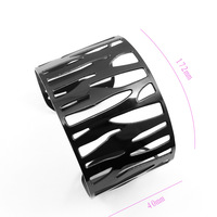 2014 New Year Punk Classic Black Plated 316L Stainless Steel Multi WavePattern Cuff Bangle Bracelet