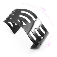 2014 New Year StatementBlack Plated 316L Stainless Steel Multi Ultrasound Pattern Cuff Bangle Bracelet