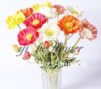 "NEW 10Pcs 60cm/23.62"" Length Artificial Simulation Poppy Flower Real Touch PU Flowers Floral Display Home Christmas Decorations"