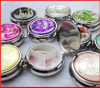 Wholesale 10Pcs Silver Veneer Pill boxes DIY Medicine Organizer Container Case  3 Compartments -Free Shipping