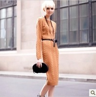 European fashion runway, super long lengthen, classic, twist render knitting wool dress