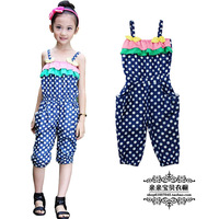 Mini products 2013 children's clothing summer female child jumpsuit harem pants jumpsuit capris