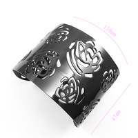 2014 New Year  Hollywood Star Black Plated 316L Stainless Steel Multi FLOWER Pattern Cuff Bangle Bracelet