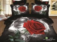 3D Red Rose bedding sets queen size 4pcs Floral printed doona duvet/comforter cover bed linen bedclothes cotton home textile