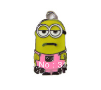 QUTE9877 ! Wholesale 100 pcs Despicable Me Minion Metal Zinc Alloy Enamel Charms Pendants for Girl Jewelry Craft Making DIY